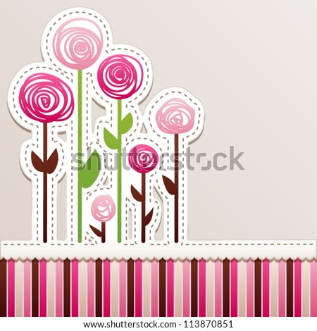 Card design with roses. Patchwork style