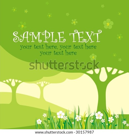 card design with stylized tree and flowers - stock vector