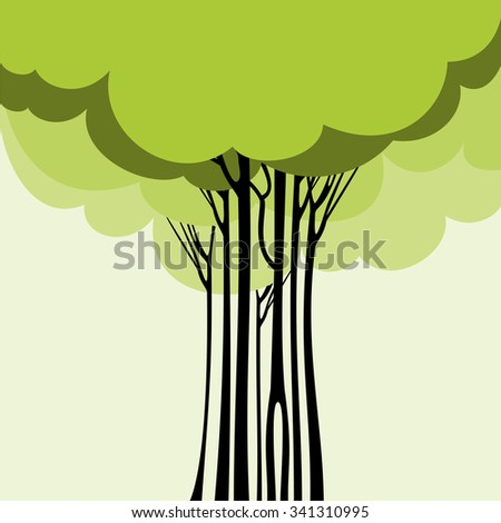 Card design with stylized trees.vector