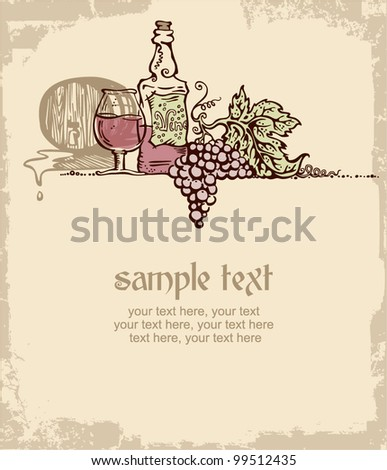 card design with vintage wine and place for text. still life - stock vector