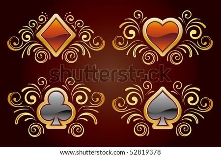 card elements,gold floral,black background - stock vector