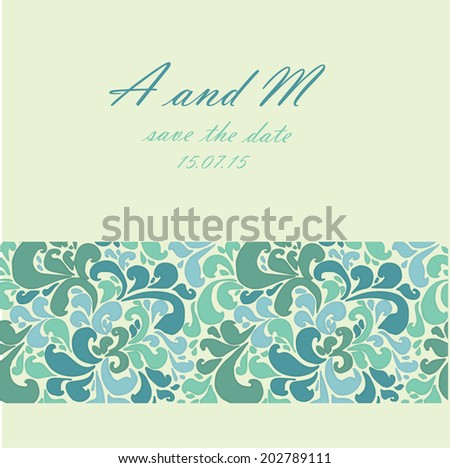 card floral ornament wedding2(yellow-blue-green)