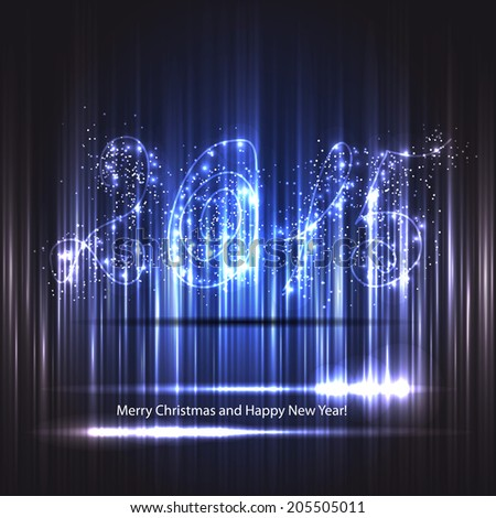 card for christmas or new year. New Year display in shades of blue - stock vector