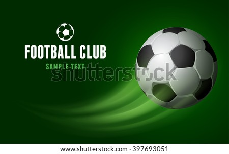Card for Football Club with Flying Soccer Ball on Green Background. Realistic Vector Illustration.  - stock vector
