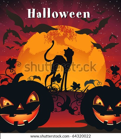 Card for Halloween Congratulations with pumpkin, bats and cat. Vector framework for invitations. - stock vector
