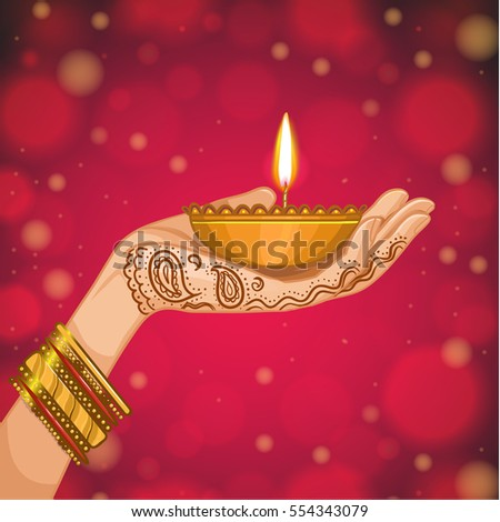 Card for henna night, kina gecesi. Hand with henna decoration with a candle, vector image, eps10