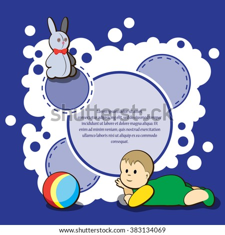 Card for kids congratulation. Vector illustration. It is easy to edit. In gallery also card different colors. Perfect for invitations or announcements.  - stock vector