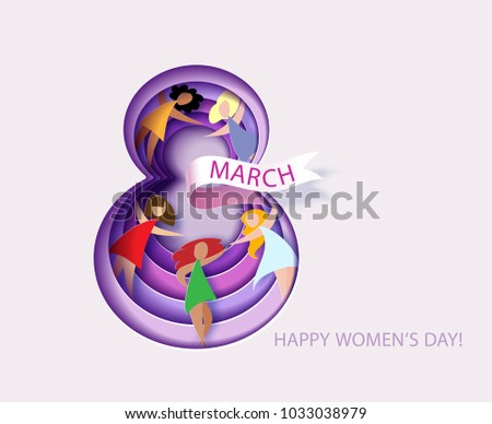 Card for 8 March womens day. Number eight with flowers cut from paper and Women. Abstract background with text .Vector illustration. Papercut and craft style.