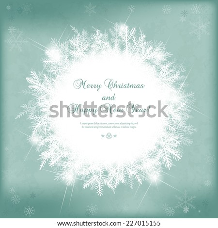 Card for the winter holidays with snowy fir branches, snowflakes, lights and place for text. Illustration for Christmas and New Year design. - stock vector