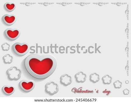 Card for Valentine's Day on a Gray Background. Vector illustration - stock vector