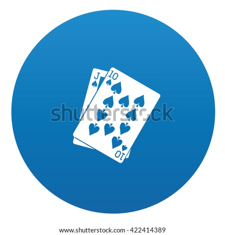 card game icon design on blue background,vector