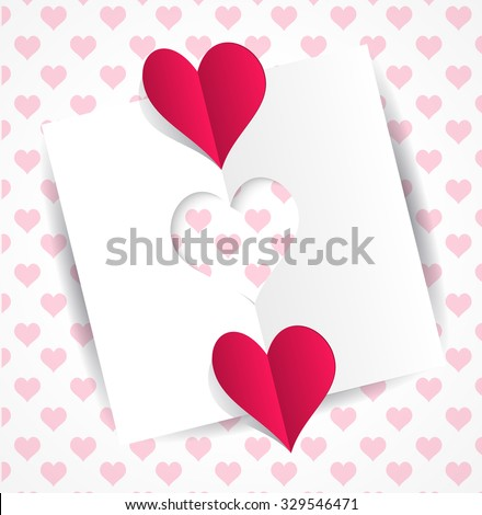 Card heart-shaped cutting and two origami hearts - Valentines day card on a gentle background with hearts pattern. Valentine's day greeting card with cut paper heart. Vector illustration - stock vector