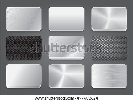 card icons metal background metal app stock vector royalty free