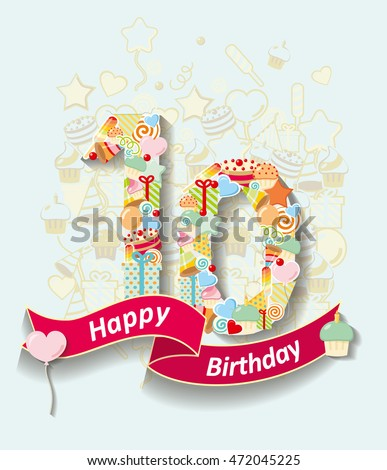Card Invitation Number Ribbon Happy Birthday Stock Vector - Birthday invitation cards 10 years