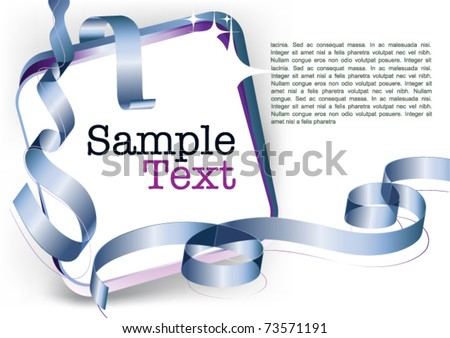 card note with blue swirly ribbon on white background. Blank  frame gift tag. vector template