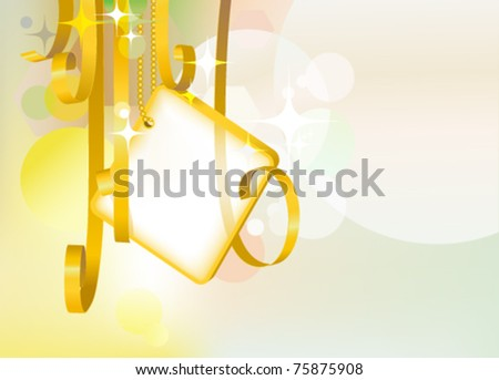Card note with golden swirly transparent ribbons with background : vector greeting card - stock vector