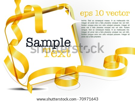 card note with golden transparent ribbon on white background. Blank frame gift tag. eps10 vector - stock vector