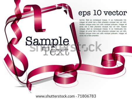 Card note with red swirly transparent  ribbons: gift tag on white background eps10 vector graphic design template