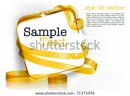 card note with rolled up golden swirly ribbon on white background. Blank frame gift tag. eps10 vector - stock vector