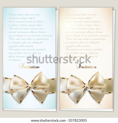 Card notes with ribbons.  Beige and Blue invitations - stock vector