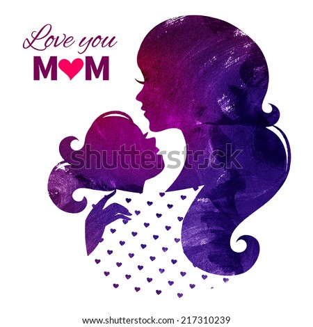 Card of Happy Mothers Day. Beautiful mother silhouette with her daughter. Watercolor vector illustration - stock vector