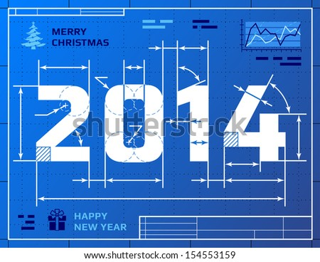 Card of New Year 2014 like blueprint drawing. Stylized drawing of 2014 on blueprint paper. Qualitative vector illustration for new year's day, christmas, winter holiday, new year's eve, silvester, etc - stock vector