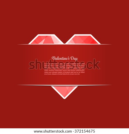 Card of Valentines Day with a heart made from paper. Vector illustration. Used transparency layers - stock vector