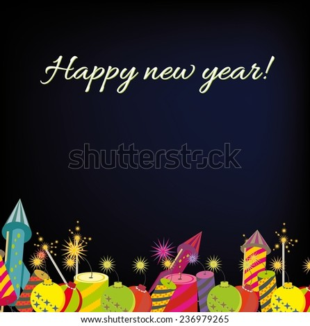 Card of wish happy new year (vector)