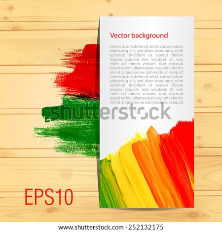 Card on wood texture. Vector background. Bright acrylic brush strokes. Template for card. Place for text. - stock vector