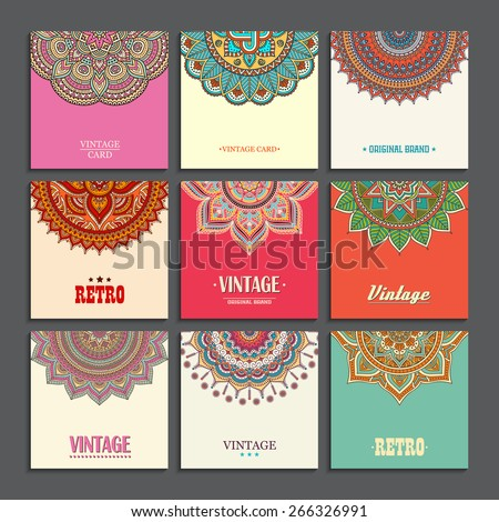 Card or invitation. Vintage decorative elements. Hand drawn background. Islam, Arabic, Indian, ottoman motifs. - stock vector