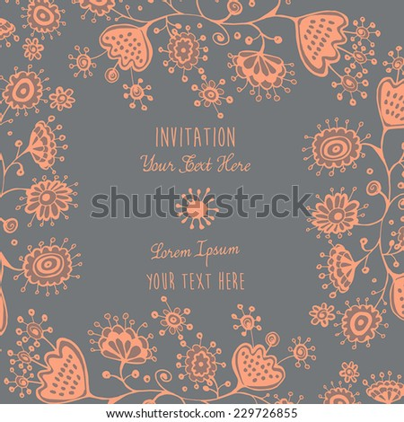 Card or invitation with abstract floral background. Greeting card. Elegance pattern, floral illustration in vintage style Valentine. - stock vector