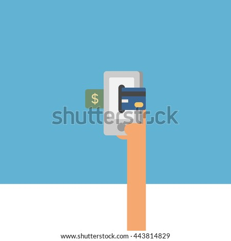 card or mobile payment. online payment. hand holding card. accepting payment. vector illustration. dollar payment