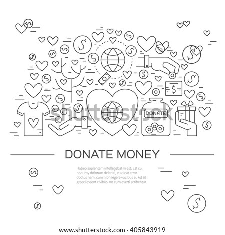 Card or poster template with charity and fundraising objects. Volunteer poster. Funsraising event card template. Vector illustration with place for your text. - stock vector