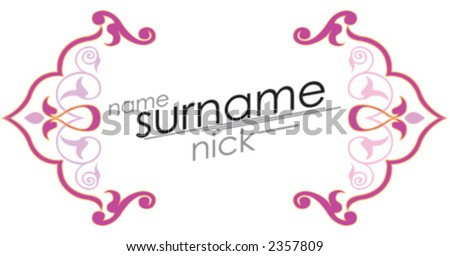 card, postcard, name, surname. nick - stock vector