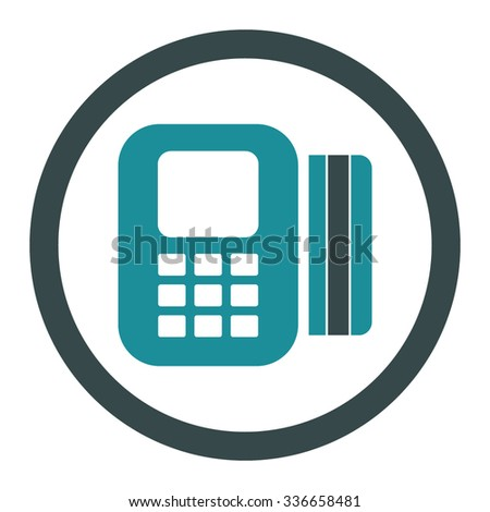 Card Processor vector icon. Style is bicolor flat rounded symbol, soft blue colors, rounded angles, white background. - stock vector