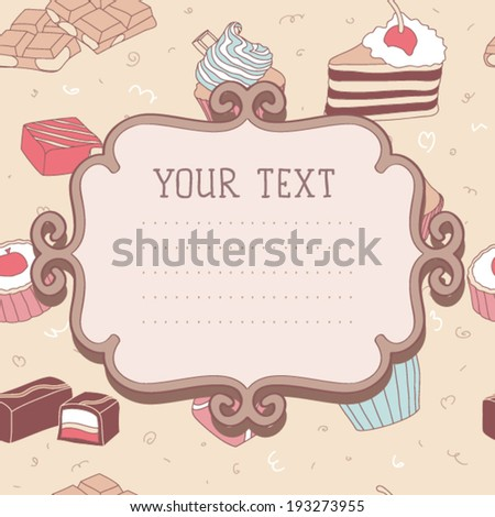 Card seamless tea time vector pattern
