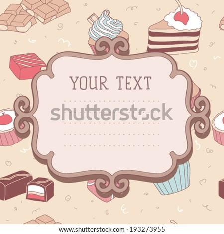 Card seamless tea time vector pattern  - stock vector