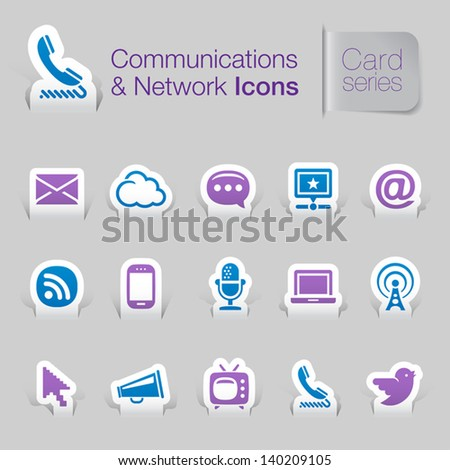 Card series communication & network related icons - stock vector