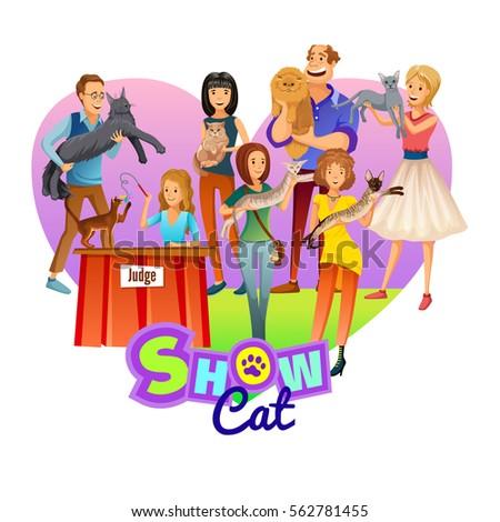 Vintage emblems labels cats icons cat stock vector - Cat cartoon shows ...