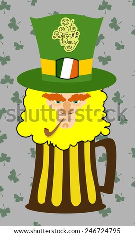 Card St. Patrick's Day. Portrait of a leprechaun. Background St. Patrick's Day. A bearded old man with a pipe, shamrock, coins. A long beard