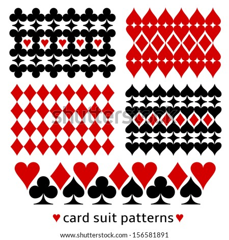 Card suit background patterns. Casino themed decor made from card suit elements. - stock vector