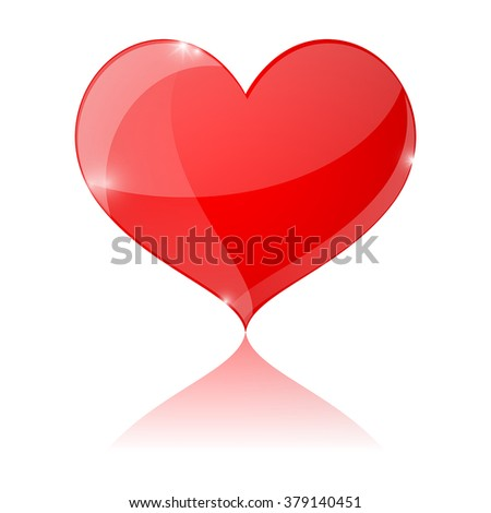 Card suit heart. Vector illustration isolated on white background.