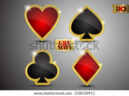 Card suits in gold on a gray background