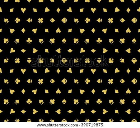 Card Suits Seamless Pattern Vector Illustration - stock vector