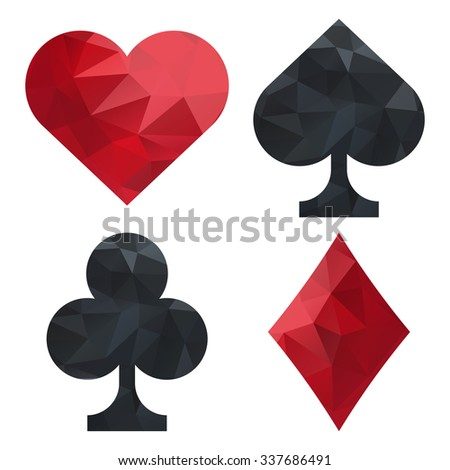 Card suits set: spades, clubs, hearts, diamonds. Low-polygon pattern on the figures. Collection for games, web interface, applications  isolated on a white background. Vector illustration.  - stock vector
