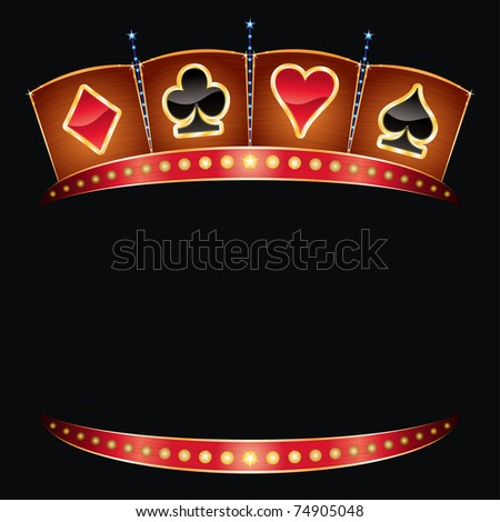 Card symbols on gold neon with lights - stock vector
