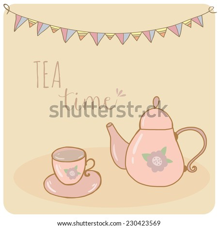Card teapot and cup pastel hand drawn style  tea time - stock vector