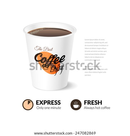 Card template with coffee cup, vector illustration, use for menu or web site - stock vector