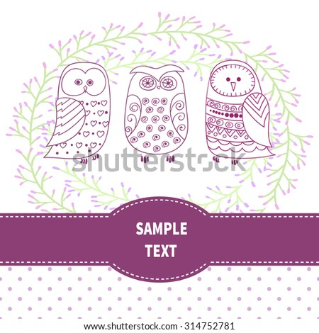 Card template with cute owls. Vector background.  - stock vector