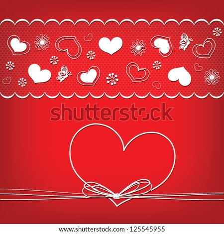 Card template with floral background with heart frame, vector